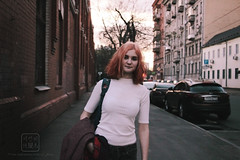 () Tags: pink light bright colors fade street urban moscow town model girl hair short curls curly evening fashion
