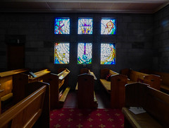 Bible Class Starts at 09:30 (Steve Taylor (Photography)) Tags: art cathedral church bench seat window lowkey light glass newzealand nz southisland perspective anglican christchurch diocese leadedlights nelson stainedglass