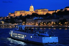 Budapest. Hungary. (Svitlana Clover) Tags: budapest hungary canoneos550d europe river city building ship tour journey blue yellow night water reflection bridge lighting vacation people