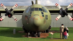 RAF Lockheed Hercules C.3 XV202, 1967 - Royal Air Force Museum, Cosford, England. (edk7) Tags: olympuspenliteepl5 edk7 2016 uk england shropshire rafcosford royalairforcemuseumcosford royalairforce raf lockheedherculesc130kmk3 lockheedherculesc3 xv202 1967 c130h130lmusafsn668552 aircraft aviation military airplane plane engineering mechanical fourengine transport coldwar allisont56a15turboprop4590shp