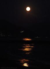 Sitges.Catalonia.Spain (Natali Antonovich) Tags: sitges catalonia spain moon reflection parallels landscape night seasideresort seashore seaside seaboard sea water