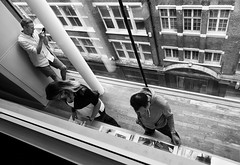 From above (V Photography and Art) Tags: perspective pov pointofview people buildings architecture window glass view london bw lookingdown