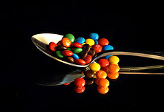What the doctor recommended! (Through Serena's Lens) Tags: mini mms candies sweet reflection mirror spoon colorful still life tabletop