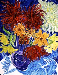 Flowers For June Into A Painting For June (bill_giddings) Tags: original modernfineart flowerpainting paintinginoilsoncanvas painteddirectlyinfantofthemotive nopreliminarydrawing impressionisticstyle postimpressionist flowers colour red blue green yellow vibrant vivid space perspective lightandshade lightanddark illumination reflections shadows vase water nikon