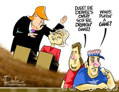 1016 basket of debatables cartoon (DSL art and photos) Tags: editorialcartoon donlee donaldtrump election politics presidential 2016 basketofdeplorables drinkinggame debate hillaryclinton
