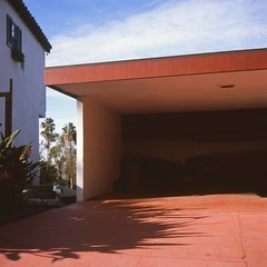 Empty garage (ADMurr) Tags: la hollywood hills shadow red blue rolleiflex planar fuji chrome slide film