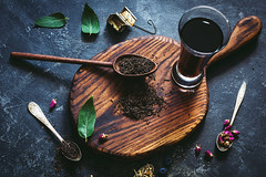 Tea is love (Arx0nt.) Tags: tea drink hot warm dry pu ehr black indian chinese leaf green above creative overhead top view wooden board rose dryflower pink dark horizontal