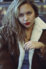 You talking to me? (TheJennire) Tags: photography fotografia foto photo canon camera camara colours colores cores light luz young tumblr indie teen curlyhair people portrait face trip self girl makeup culyhair coat winter chile eyes look fashion