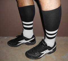 2 Stripe NFL Officials fitted socks with NFL Low Grass turf shoes. (Football Officials Referee Uniforms) Tags: two white black field grass sport socks shoe one back football clothing referee official sock shoes uniform side low stripe spot line clothes equipment national mens judge piece turf league umpire officials nf fitted linesman bilt spotbilt spotbuilt