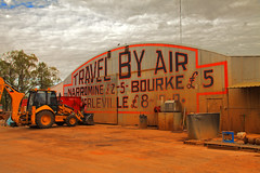 Travel By Air (Darren Schiller) Tags: panorama history sign advertising aviation hangar shed newsouthwales nissenhut gilgandra tooraweenah butlerairlines