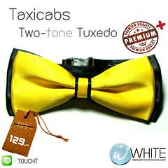 Taxicabs Tuxedo - หูกระต่ายสองสี สีเหลือง พื้นสีดำ เนื้อผ้าผิวมัน เรียบ
