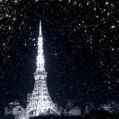 Winter wishes (mirei24) Tags: sky snow japan night tokyo  tokyotower nippon