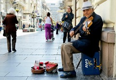 Serbian Street Player (shotsbybia) Tags: street man smile europe european candid serbia streetphotography violin belgrade violinplayer