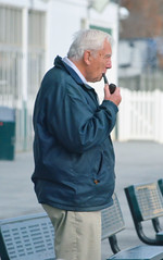 2014-12-18 (19) r1 pipe smoking fan (JLeeFleenor) Tags: photos photography md laurelpark marylandracing marylandhorseracing people pipesmoker smoker fans portrait maryland