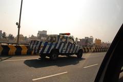 Highway patrol in Bangalore India (trident2963) Tags: india fruit stand bangalore police mini ambulance cooper local hyderabad bangaluru bangaloru