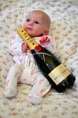 Cheers! (karldelahaye) Tags: portrait baby 35mm bottle nikon champagne cheers moetchandon moet d5100 nikond5100 karldelahaye