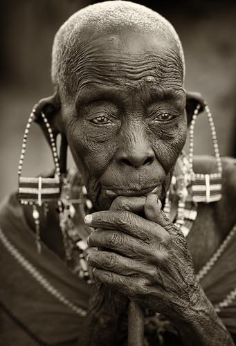 Kenya, old Maasai woman