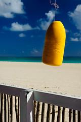 Pink Beach, Barbuda, 2015 (marc_guitard) Tags: ocean travel pink sea beach yellow swim fence sand tour turquoise sandy atlantic antigua hut tropical tropic caribbean shack traveling carib buoy barbuda