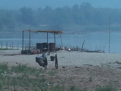 Locals in on Mekong Laos