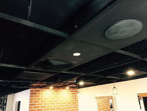 LED Downlights in a uniquely designed garage styled hair salon