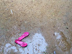She Walked Around Naked and Barefoot While It Was Raining (Mayank Austen Soofi) Tags: she pink water naked was delhi kerala it monsoon barefoot while around raining slippers walla walked ayemenem