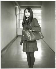 HIKARINOKO  (ry.2) (Tamakorox) Tags: student highschoolstudent portrait art mamiyarb67 japan japanese asia lights shadow pleasure graduate love         film fuji kodak analoguecamera bw tmax