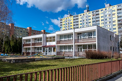 Nursery in Bratislava, Dubravka, Slovakia (mszucs) Tags: playschool playgroup slovakia home city building background view town region culture europe european exterior editorial nursery young old colorful outdoor house bratislava dubravka district western march earlyspring spring field outside area communism design