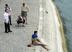 Clothing photoshoot by the Seine (Monceau) Tags: mens clothing fashion shoot seine photoshoot photographer subject