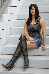 Chrissi 14 (The Booted Cat) Tags: sexy girl model miniskirt demin jeans higheels heels overknee boots legs candid