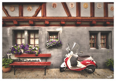 Should I stay or should I go now... (VandenBerge Photography) Tags: scooter house bench flowers colors old oldtown fribourg switzerland schweiz canon cozy historical neuveville europe travel