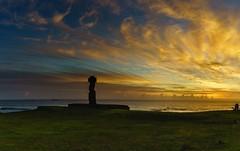 Looking Inward (Rice Bear) Tags: chile travel blue sunset sea panorama clouds gold polynesia islands golden pano adventure shore southpacific rays bluehour moai easterisland rapanui hangaroa ahutahai