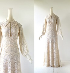 1930s ivory lace wedding dress (Small Earth Vintage) Tags: smallearthvintage vintagefashion vintageclothing dress gown 1930s 30s weddingdress weddinggown ivory lace floral