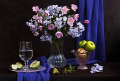 Blue Evening (Esther Spektor - Thanks for 11+ millions views..) Tags: pink blue summer stilllife food brown reflection green art apple water glass yellow fruit composition scarf canon evening drink availablelight plate stilleben bowl poetic slice vase romantic drape arrangement brilliant tabletop bodegon naturemorte goblet naturamorta naturezamorta creativephotography artisticphoto estherspektor
