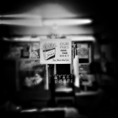 At the Polar Bear Drive-In (CarusoPhoto) Tags: everyday ordinary banal mundane sign blacksdenote bw white black plus 6 iphone carusophoto caruso john hipstamatic bear polar instagramapp square squareformat iphoneography
