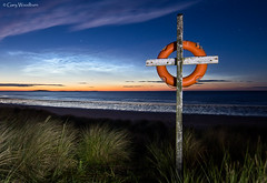 Northern Cross - Noctilucent Clouds, Seahouses, Northumberland (Gary Woodburn) Tags: noctilucent cloud clouds mesospheric high altitude space stars starry night beach shore line shoreline seahouses northumberland life buoy twilight canon 6d samyang 24mm f14