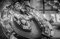 west quay cafe (sure2talk) Tags: cafe westquay southampton 116picturesin201671highvantagepoint nikond7000 nikkor1855mmf3556afs blackandwhite lookingdown westquaycafe