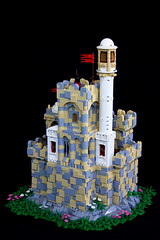 Vermillion Castle (jsnyder002) Tags: lego castle medieval moc creation model middle eastern minaret snot stonework rockwork landscape tan tiles dome tower gatehouse brickfair yeoldmerrybattleground