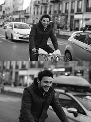 [La Mia Citt][Pedala] sorridendo e  con il BikeMi (Urca) Tags: milano italia 2016 bicicletta pedalare ciclista ritrattostradale portrait dittico nikondigitale mir bike bicycle biancoenero blackandwhite bn bw 872106 bikemi bikesharing sorridendo