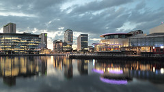 Salford Quays (seegarysphotos) Tags: seegarsyphotos garylewis salfordquays manchester mediacity water bridge lights dark night cityscape urban nightscene neon neonlights reflections river clouds sky dusk twilight moody atmosphere offices buildings apartments