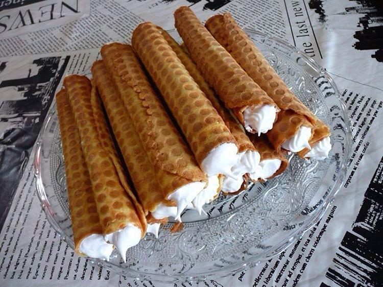 Трубочки с кремом в вафельнице рецепт