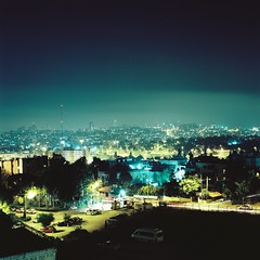Goodbyes are hard (Gabriela Gleizer) Tags: israel jerusalem night lights urban street landscape square format medium mamiya c330 80mm 28 long exposure ektar 100 tlr twin lens