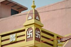 Indian school roof swastikas, UP, India (CultureWise) Tags: india swastika symbols