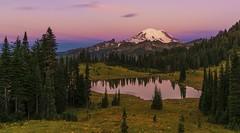 Tipsoo lake  and Mt Rainier at Sunrise (Mt Rainier NP, WA) (Sveta Imnadze. (Will be away for a while. Have ver) Tags: nature landscape tipsoolake mtrainier mtrainiernp sunrise colors wa pacificnorthwest