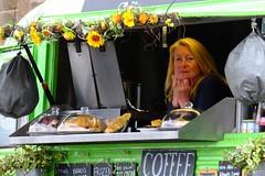 Little Green Van 02 (byronv2) Tags: portobello edinburgh edimbourg coast coastal promenade northsea rnbforth firthofforth forth riverforth river sea scotland street candid peoplewatching van citroen littlegreenvan vintage green coffee cafe woman
