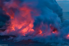 Explosion - Big Island (Captures.ch) Tags: 2016 bigisland black blue born brown dusk elements fire gray hawaiivolcanoesnationalpark hawaii landscape lava nature new night ocean orange perfection pure red sea smoke steam stones travel usnationalparkservice volcano water waves wild yellow