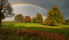 Blairquhan Rainbow (Andy Watson1) Tags: shine sunshine blairquhan castle scotland ayrshire marriage married grounds estate rainbow galloway national park forest trees tree wood woods walk walking explore exploring scottish light shadow sunday uk united kingdom great britain british october autumn autumnal fall bright landscape view scenery scenic travel trip holiday countryside break canon 70d sigma grass green sky rain heavy saturate saturation cloud clouds cloudy mood moody