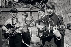 The Beatles (emilybchandler) Tags: 1960s bw band blackandwhite british city england english group guitar horizontal london male man music personality pop rocknroll singer sixties songwriter suit terryoneill thebeatles tie wall uk