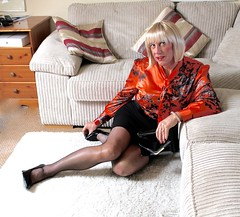 Satin blouse and stilletttos (bethany_labelle) Tags: satin blouse tight skirt tgirl transvestite silky satiny slippery shiny