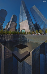 One World Trade Center (Karnevil) Tags: northamerica usa us newyork newyorkcity ny nyc manhattan lowermanhattan oneworldtradecenter 1worldtradecenter freedomtower onewtc 1wtc 285fultonstreet september112001 911 thenorthpool northpool waterreflections skyscrapper 1776ft multiplephotos stitch nikon d610 petekreps