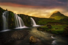 Hearing whispers of the Elves (Blai Figueras) Tags: islandia sky panorama montaas cascada agua sunset mountains river water horizon landscape atardecer atmosphere fall ro longexposure stones red sun le paraiso eden paisaje flickr fog energia waterfall iceland energy clouds cielo silkeffect